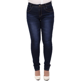 Wholesale Women Pants Wholesale - Wholesale- 2017 Winter autumn fashion brand plus size 5XL jeans blue color casual women denim pants woman pencil jeans trousers L-5XL C0892