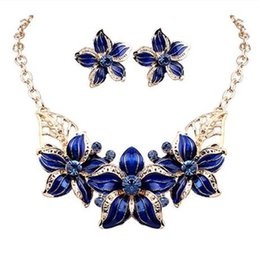 Wholesale Girls Dresses Wholesale China - New Jewelry Sets Necklace Earrings Crystal Enamel Flower African Maxi Statement Jewelry Wedding Bridal Pendant Dress Accessories wholesale