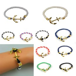 Wholesale Vintage Friendship - Wholesale-Vintage Jewelry String Rope Surfer with Gold Plated Anchors Woven Friendship Bracelet for Unisex 10 Colors