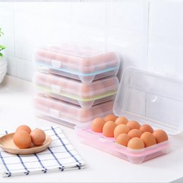 Wholesale Tray Container - Transparent Egg Storage Box 15 Eggs Holder Lattice Kitchen Refrigerator Egg Fresh Container Tray Food Storage Case OOA3420