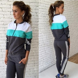 Wholesale Xl Womens Jogging Suits - 2016 Casual Hoodies Sporting Suits For Women Sporting Set Patchwork Zipper Zip-up Womens Tracksuit Set Hoodie jogging Sweatshirt