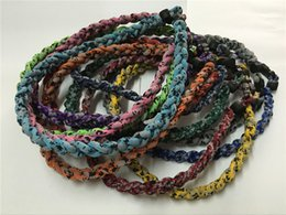 Wholesale Titanium Germanium Rope - 3 Rope Outdoor Survival Bracelets Hiking Camping Baseball Football Germanium Titanium Necklace Mixed Color Camouflage 10 PCS Fast Shipping