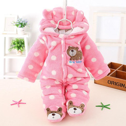 Wholesale Baby Boy Warm Clothes - 2017 winter New child Romper Cotton Padded Thick Newborn Baby Girl Warm Jumpsuit Autumn Fashion baby's wear Kid Climb Clothes