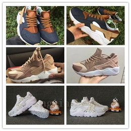 Wholesale Id Lace - 2017 High Quality Huarache Customise Running Shoes Men Women Denim Huaraches iD Sneakers Triple Jogging Athletic Trainers 36-45