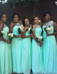 Wholesale One Shoulder Beach Dress - Vestido de festa Turquoise One Shoulder Long Bridesmaid Dresses African Floor Length Beach Wedding Party Gowns Cheap Under 100