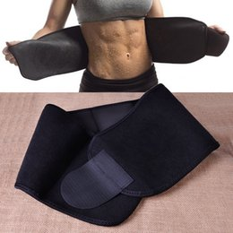 Wholesale Tummy Sweat Belt - Neoprene Black Waist Tummy Trimmer Slimming Belt Sweat Band Body Shaper Wrap Weight Loss Burn Fat Exercise For weight reduction