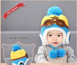 Wholesale Kids Plush Beanie Cap - Hot 2016 kids six color winter pilot earflap caps beanie warm hats airforce beanie caps baby pilot flight earflap plush beanie