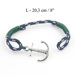 Wholesale Anchor Bracelets Green - Stainless Steel Anchor charms bracelet green Rope blue thread Chain Charm Jewelry TOM HOPE Bracelet with box and tag TH003