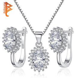 Wholesale Necklace Sparkling Earrings - BELAWANG Wholesale Sliver Earrings&Necklaces Set 925 Sterling Silver Oval Sparkling Cubic Zirconia Women Elegant Wedding Bridal Jewelry Set