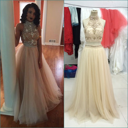 Wholesale Samples Neck Beads - Champagne Sexy Long Two Pieces Prom Dresses High Neck Crystal Bead Formal Party Gowns Real Sample 2 Piece Prom Dress