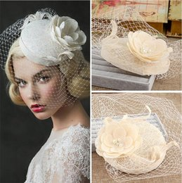 Wholesale floral design photos - New Design High Quality Bridal Hat Floral Tulle Linen Ivory Lace Garden Wedding Hair Accessory Bride Mother Special Occasion Party Photo Hat