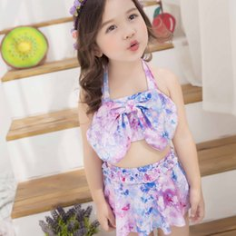 Wholesale Hot Bikini Baby - New Sweet Girls Swimming Suits Hot Spring Swimsuits Dream Baby Girl Bikini Big Kid Butterfly Floral Swim Suits Girl Bathing Swimwear A6049