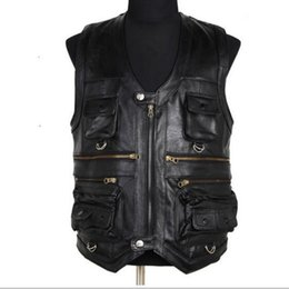 Wholesale Genuine Leather Outwears - Wholesale- New Arrival Autumn Men's Waistcoat Genuine Leather Vests Reporters Suit Multi Pocket Men Cow Leather Vests Outwear Tops Size