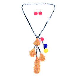 Wholesale Cotton Rope Handmade Necklaces - Fangjiao Long Rope Chain Handmade Earrings Set Necklace For Women Colorful Tassel Pendant Cotton Ball Statement Necklace Jewelry