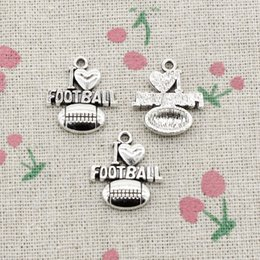 Wholesale I Love Football - 50pcs Charms i love football 20*18mm Antique Silver Pendant Zinc Alloy Jewelry DIY Hand Made Bracelet Necklace Fitting