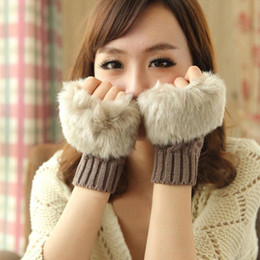 Wholesale Korea Gloves Style - 2016 Zmario Korea Style Women Warm Winter Faux Rabbit Fur Wrist Fingerless Keyboard Fashion Gloves Mittens