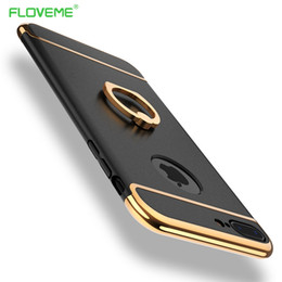 Wholesale Wholesale Metal Phone Covers - FLOVEME Case For iPhone 7 6s 6 Plus Luxury Metal Ring Holder Combo Phone Cover For iPhone7 Plus Hard Capa For Samsung Galaxy S8
