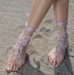Wholesale Cheap Custom Sandals - Elegant Lace Beach Wedding Barefoot Sandals 2017 New Pink Anklet Chain Cheap Custom Made Bridal Bridesmaid Jewelry Foot