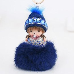 Wholesale Doll Hats Red - Monchichi Keychain Girl Monchhichi Sleutelhanger Wool hat Crystal Fur Ball Keychain monchichi dolls Key Chain Pom Pom Women Key Holder Bague