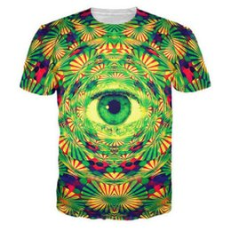 Wholesale Psychedelic Shirt Men - Wholesale-Eye 3D Printed T-Shirt Psychedelic Trippy Pattern Leads To An All-Seeing Eye Vibrant Design Summer T Shirt Men Style Harajuku