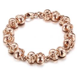 Wholesale Skull Bracelets Rose - Women Men Charming Gift Unisex Popular High Quality Stainless Steel Biker Small Skulls Link skeleton Bracelet Rose Gold 8''