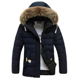Wholesale Warmest Mens Down Jackets Coats - Wholesale- Brand New 2017 Winter Jacket Men Coats Thick Warm Casual Fur Collar Down Coat Winter Windproof Hooded Outwear Mens Parkas 717