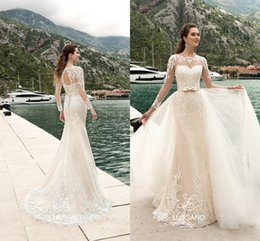 Wholesale Girl Skins - 2017 Removable Mermaid Wedding Dresses with Long Sleeve Bridal Gowns Summer Beach Garden Spring Open back Lace up for Black Skin Girls