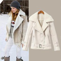 Wholesale Women Winter Coats Uk - Wholesale- UK Brand Fashion 2017 Spring Winter Women Faux Fur collar Short Zipper Bomber Jacket Cotton Fleece Lining Warm Down coat White