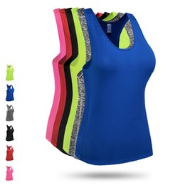Wholesale Spandex Vest For Women - New Brand Yoga Sleeves Tshirt Sport Vest Women Running Tank Tops for Fitness Training Outdoor Apparel Clothes Girls Wear Plus Size XXL F806