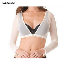 Длинные белые женщины футболки онлайн-Wholesale- Womens Sexy See-through Crop Tops Slim Long Sleeve Arm Bare Midriff Beauty T-shirt V-neck Mesh Summer Black White Tops Q1508