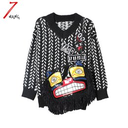 Wholesale Cute White Long Sleeve Sweater - Wholesale- 2016 autumn winter women novelty black white cartoon girl cute fringe sweater street chain patchwork pullover