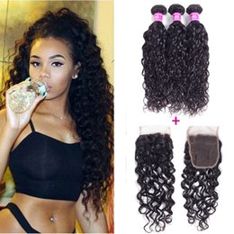 Wholesale Virgin Hair Weave Sale - Ushine Wholesale Brazilian Water Wave Hair Peruvian Virgin Hair Bundles With 4*4 Lace Colsure Soft and Thick Bundles On Sale