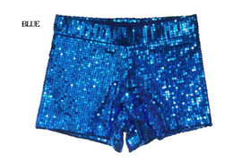 Wholesale Sequin Dance Outfits - New Female show clothing Sequined Hot pants shorts Nightclub DS Jazz Dancing outfit Hip-hop party clothing Red, black, gold, silver, blue