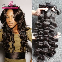 Wholesale Virgin Human Hair Loose Wavy - 3pcs lot Brazilian Loose Deep Wave Virgin Human Hair Extension AAAAAAA+ Loose Curly Hair Weave Weft Dyeable Mink Wavy Hair Bundles Greatremy