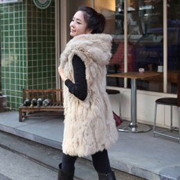 Wholesale Double Hooded Jacket - 2018 Style Long Faux Fur Vest Black Apricot Hooded Long Gilet Winter Warm Sleeveless Jacket Overcoat Drop Shipping CJD0824