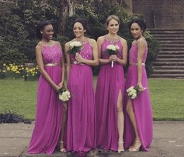 Wholesale Sheer Halter Bridesmaid Dress - 2017 New Sheer Jewel Sleeveless Bridesmaid Dresses A Line Appliques Beaded Backless Long Split Evening Dresses Formal Party Prom Gowns