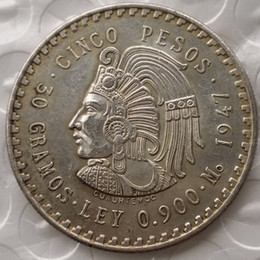 Wholesale Quality Craft - Uncirculated 1947 or 1948 Mexico 5 Pesos Silver Foreign Copy Coins High Quality Brass Craft Ornaments
