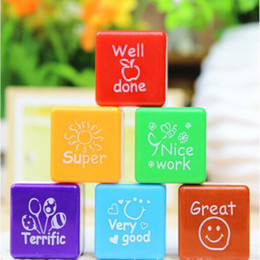 Wholesale Reward Stickers - 2017 New 6pcs set Teachers Stamper Praise Reward Stamps Sticker DIY English Encourage Words Ink Pad School Stationery Party Gift