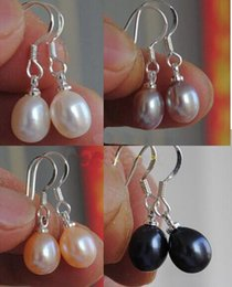 Wholesale White South Sea Pearl Earrings - Pearl Earrings Pendant Genuine 7-8mm White Drop South Sea Pearl Dangle Earring 925 Silver Gift 4Color AAAA Grade