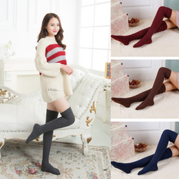 Wholesale thick thigh high socks - Wholesale Lady High Quality Cotton Stockings Sexy thigh High over the knee Socks for Woman solid color Thick warm socks