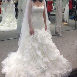 Wholesale Organza Spaghetti Strapless Mermaid - Luxury Wedding Dresses 2017 Ruffles Organza Tulle Criss Cross Sheer Spaghetti Straps Mermaid Wedding Bridal Gowns Vestido De Noiva
