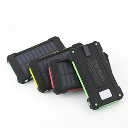 Wholesale Emergency Battery Mobile Phone - Solar Emergency Cell Phone Charger 10000 mah Batteries Mobile Phone Power Banks with 2 USB Outputs