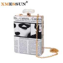 Wholesale Mini Handbag Perfumes - Wholesale- New 2016 Printing Perfume Bottle Bag Evening Bags Chain Mini Acrylic Box Women's Clutches Party Bags Handbags Minaudiere Purse