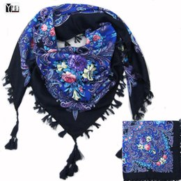 Wholesale White Cotton Square Scarf - 2016 hot sale new fashion woman Scarf square scarves short tassel floral printed Women Wraps Winter lady shawls free shipping-03