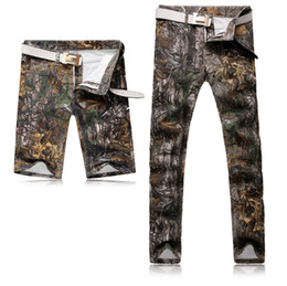 Wholesale Camouflage Pants For Men Skinny - 2017 Fashion Camo Real trees Jeans Shorts Pants Camouflage Special Designer Brand Jeans Sports Outdoor Bottoms for Men Hot Sale