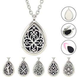 Wholesale Magnetic Pads - Free with Chain and Pads! Hot Sale Silver Teardrop Perfume Locket Jewelry Magnetic 316L Stainless Steel Essential Oil Diffuser Necklace
