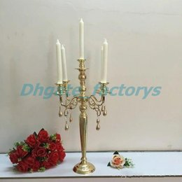 Wholesale Candelabra Centerpieces - elegant tall Weddings Cheap Wholesale Antique Gold Metal 5 arms Candelabras Centerpieces for wedding table decoation