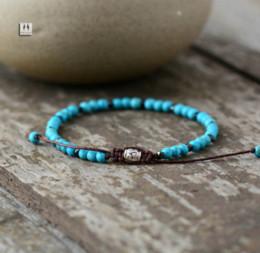 Wholesale Turquoise Mens Bracelet - Boho Bracelet Mens Beaded Bracelet 4mm Turquoise Simple Shamballa Bracelet Handmade Mens Bracelets 2017 wholesale