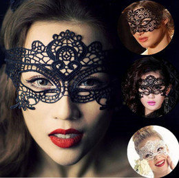 Wholesale Women Sexy Lovely - Newest Fashion Lovely Lace Halloween Masquerade Venetian Party Half Face Mask Lily Woman Lady Sexy Mask For Christmas Disco A0185