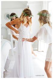 Wholesale Hot Pink Skirts - Sexy White 2017 Spaghetti Straps Chiffon Beach Wedding Dresses Hot Lovely Lace Bodice Summer Cheaper Boho Bridal Gowns Hi-Lo Backless Custom